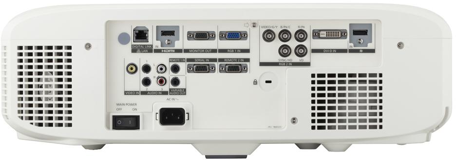 Achterzijde van de Panasonic PT-EZ580 LCD beamer
